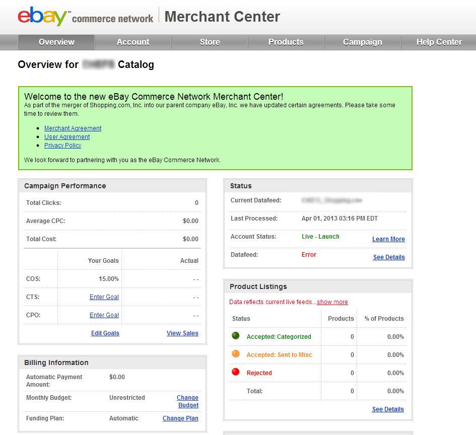 ebay commerce network dashboard