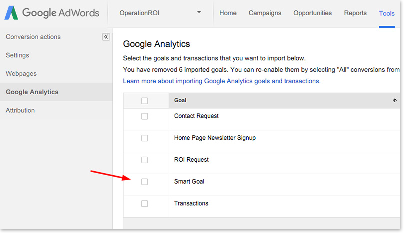Setting up Smart Goals in Adwords