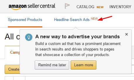 Headline Search Ads In Seller Central