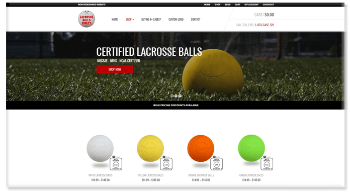 Lacrosse Balls Direct Website Redesign