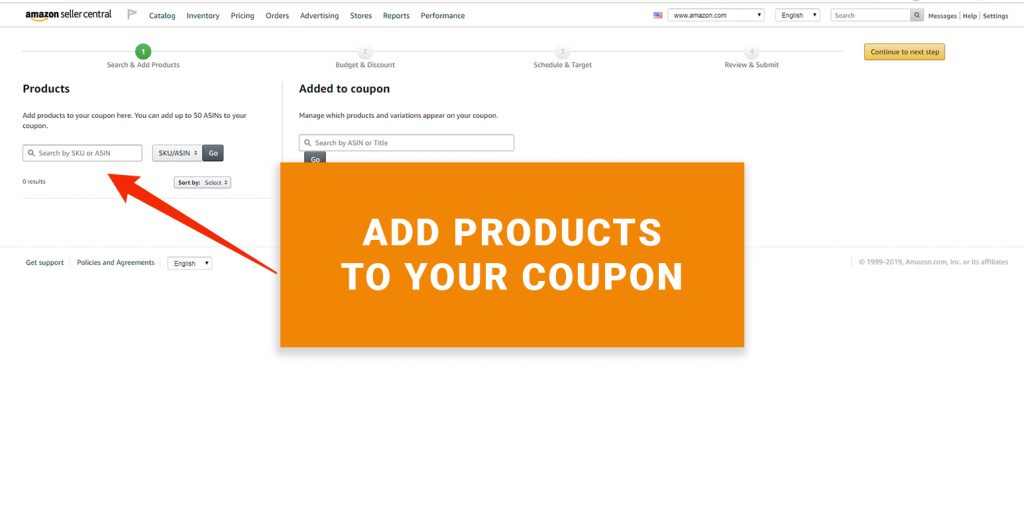Assign Products to your Amazon Coupon