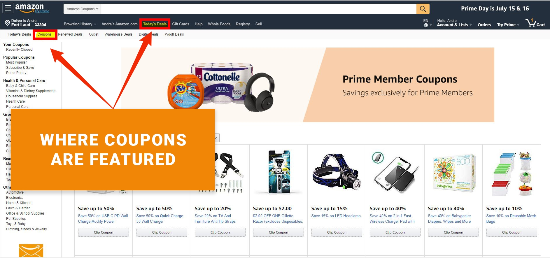 Where Are Amazon Coupons Featured?