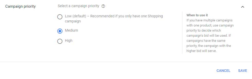 Google Shopping Campaign Priority Settings