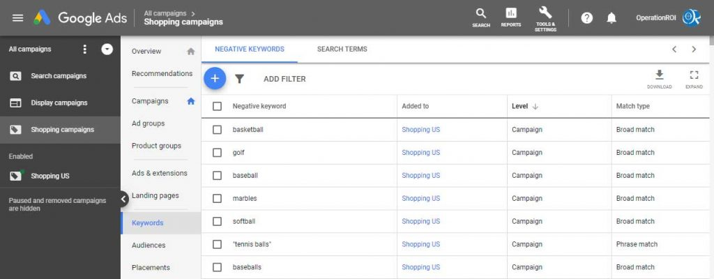 Make Sure to Create Negative Search Terms For Your Google Shopping Campaigns