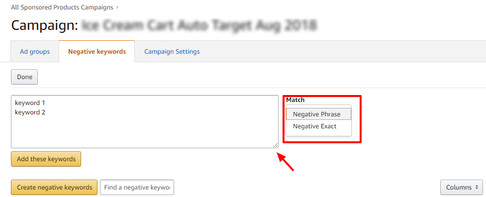 Negative Keyword Update to Sponsored Brand Ads on Amazon