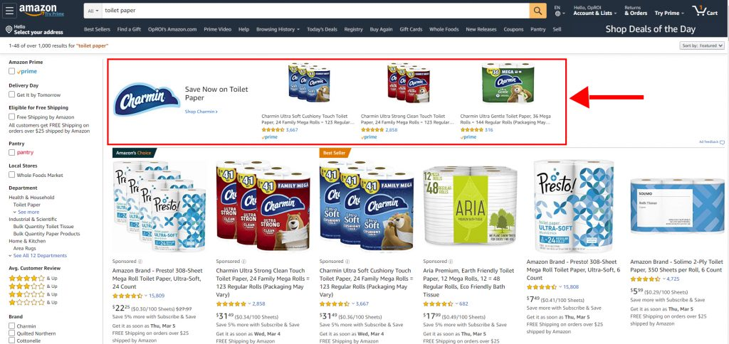 Example of Sponsored Brand Ads using Product Targeting