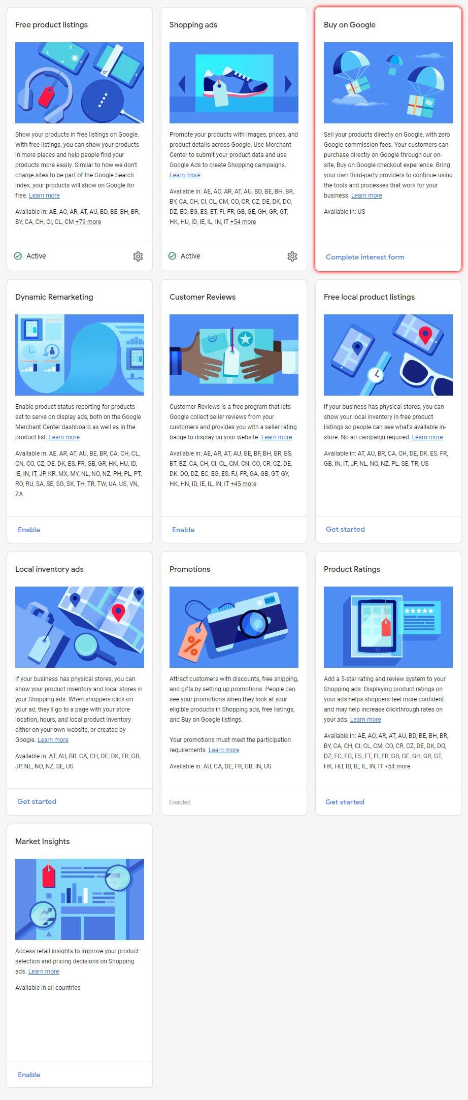 Program Options within Google Merchant Center, including Buy On Google