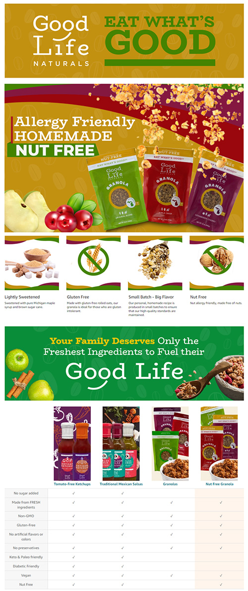 Good Life Naturals Nut Free Granola A+ Page Example